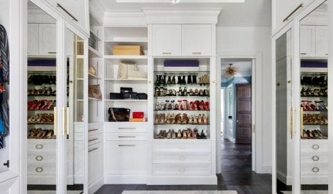 High End Closet With Drawers And Shoe Shelves