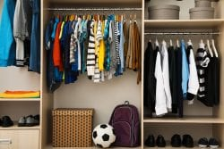 Large Closet With Teenager Clothes, Shoes And Accessories
