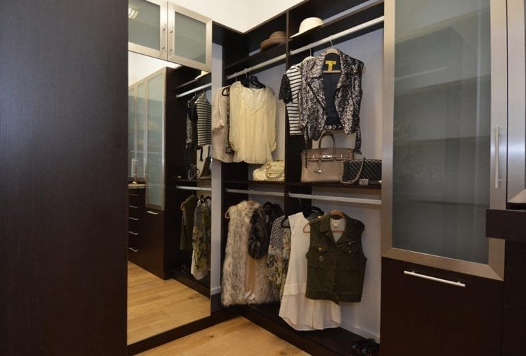 Open Closet Including Cabinet With Semi Opaque Glass